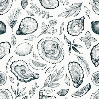 Oysters and spices seamless pattern.