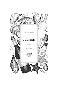 Oysters  template. hand drawn  illustration. seafood banner. can be used for design menu, packaging, recipes, fish market, seafood products.