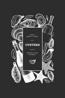Oysters and wine design template.