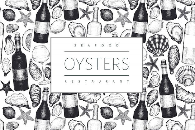 Oysters and wine  . hand drawn  illustration. seafood . can be used for design menu, packaging, recipes, label, fish market, seafood products.