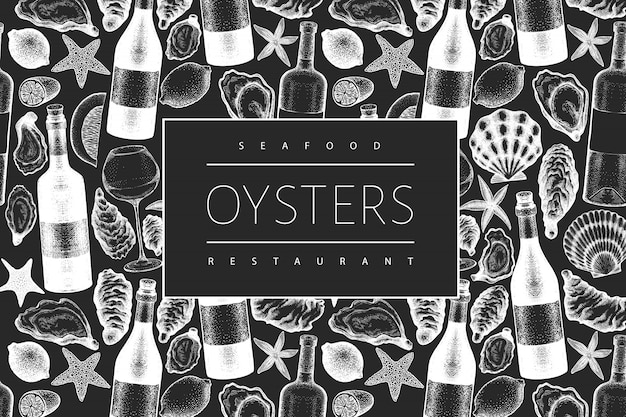 Oysters and wine  template. hand drawn  illustration on chalk board. seafood .
