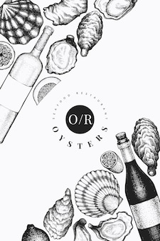 Oysters and wine  template. hand drawn  illustration. seafood .
