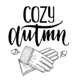 Ozy autumn quote vector cute hand drawn doodle lettering label autumn lettering for poster web