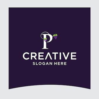 Pブドウのロゴデザイン