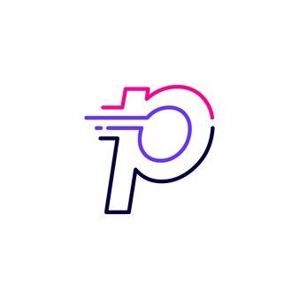 P文字ダッシュ小文字ハイテクデジタル高速クイック配信移動ラインアウトラインモノラインブルーロゴベクトルアイコンイラスト