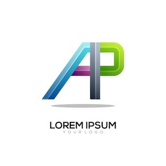 A p letter logo colorful gradient illustration