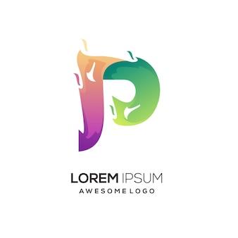 P letter logo colorful illustration