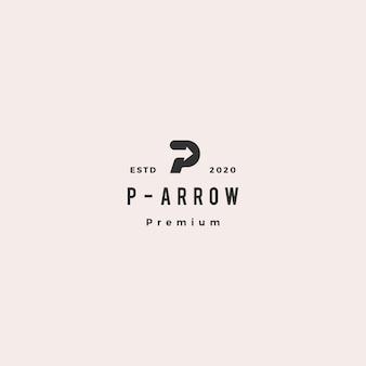 P letter logo hipster retro vintage arrow icon  illustration
