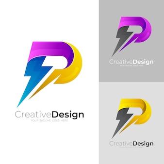 Pロゴと雷のデザインベクトル、電圧のロゴ