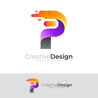 P logo design colorful, simple icon template