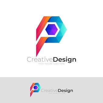 六角形のデザイン技術を備えたpロゴ、モダンなスタイル