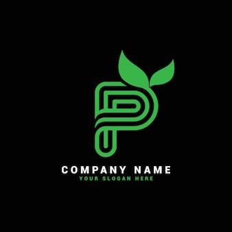 P natural letter logo, p letter logo with leaves,eco,botanical