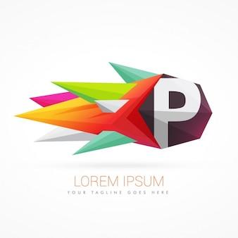 文字pとカラフルな抽象的なロゴ