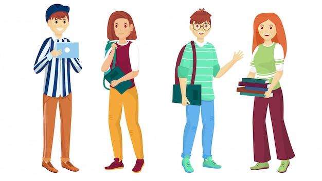 Pに立っている学生の若い漫画のキャラクター