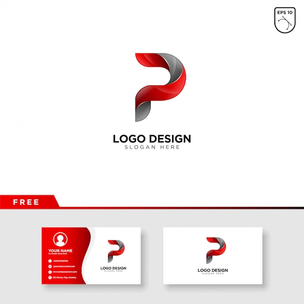 グラデーションカラーの文字pの創造的なロゴ