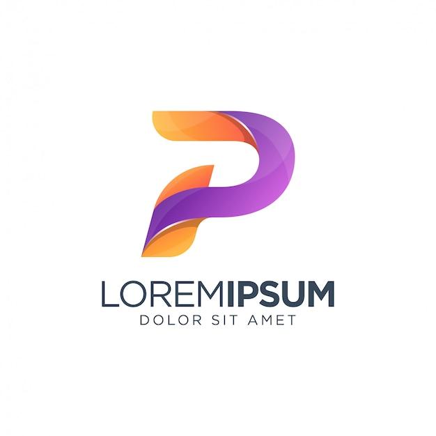 Буква p градиент логотип