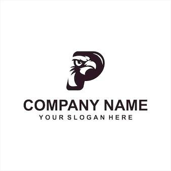 手紙pワシのロゴのベクトル