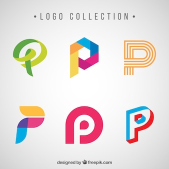 文字「p」の創造的なロゴ