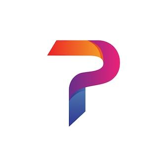 Pの文字ロゴベクトル