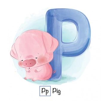 動物のアルファベット - 文字p