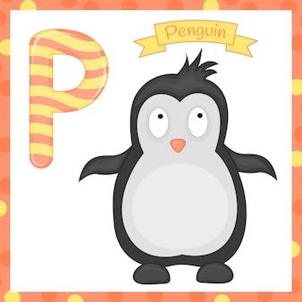 Иллюстрация изолированных животных алфавит буква p для пингвина мультяшный алфавит