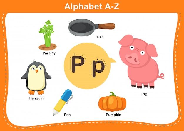 Алфавит буква p иллюстрации