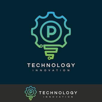 技術革新初期のレターpロゴデザイン