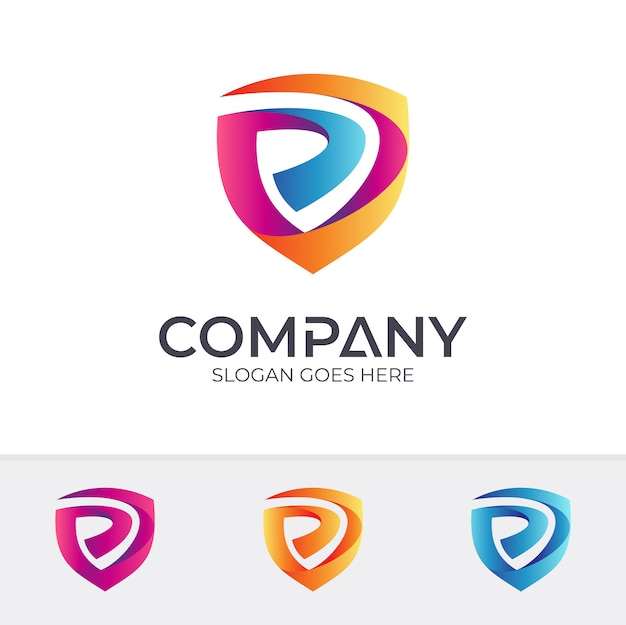 Щит буква p дизайн логотипа
