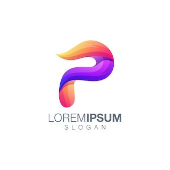 文字pグラデーションカラーのロゴのテンプレート
