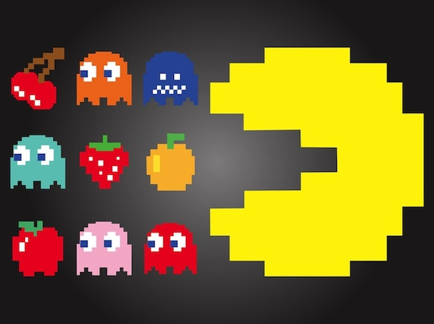 Pac-man fruit characters vector