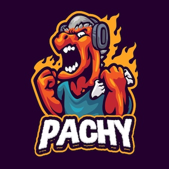 Шаблон логотипа игрового талисмана pachycepalosaurus
