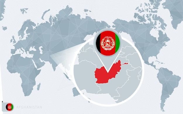 Pacific centered world map with magnified afghanistan. flag and map of afghanistan.