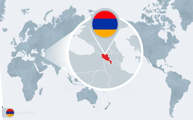 拡大されたアルメニアの太平洋中心の世界地図。アルメニアの旗と地図。