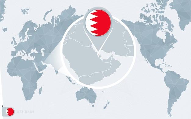 Карта мира в центре тихого океана с увеличенным бахрейном. флаг и карта бахрейна.
