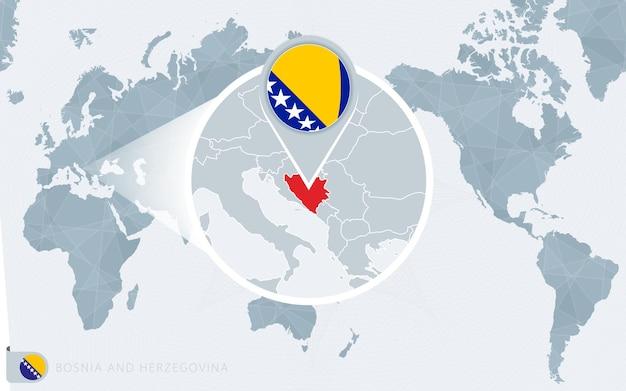 보스니아 헤르체고비나가 확대된 태평양 중심의 세계 지도 프리미엄 벡터