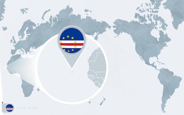 Карта мира в центре тихого океана с увеличенным изображением кабо-верде. флаг и карта кабо-верде.