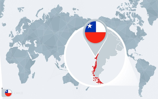 Pacific centered world map with magnified chile.