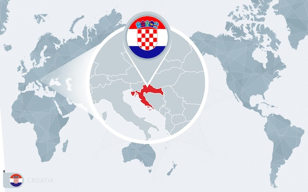 Pacific centered world map with magnified croatia. flag and map of croatia.