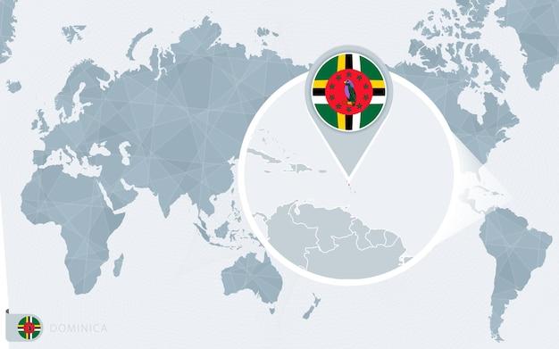 확대된 도미니카가 있는 태평양 중심 세계 지도. 도미니카의 국기와 지도.