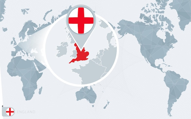Pacific centered world map with magnified england flag and map of england