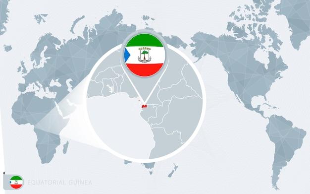확대된 적도 기니가 있는 태평양 중심 세계 지도. 적도 기니의 국기와 지도.