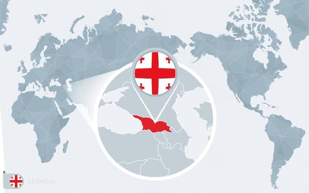 확대된 조지아가 있는 태평양 중심 세계 지도. 조지아의 국기와 지도.