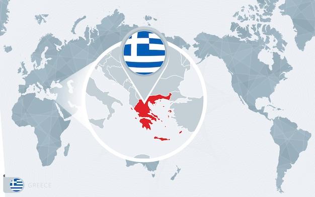 Карта мира в центре тихого океана с увеличенной грецией. флаг и карта греции.