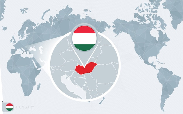 Pacific centered world map with magnified hungary. flag and map of hungary.
