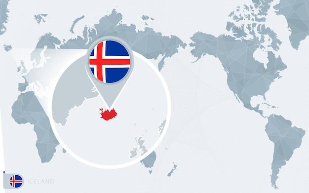 확대된 아이슬란드가 있는 태평양 중심 세계 지도. 아이슬란드의 국기와 지도.