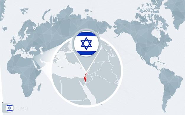 Карта мира в центре тихого океана с увеличенным израилем. флаг и карта израиля.