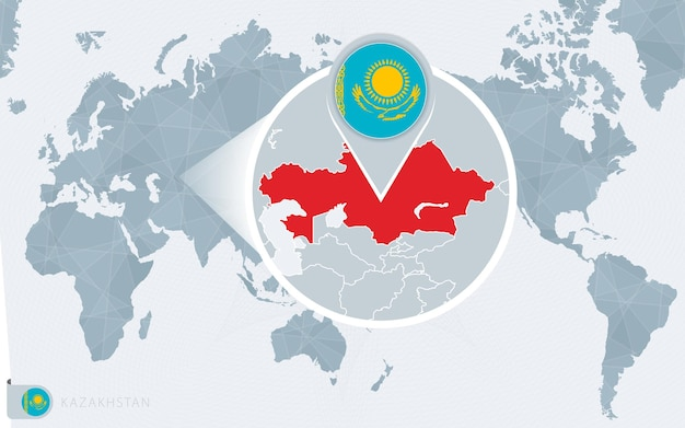 Карта мира в центре тихого океана с увеличенным казахстаном. флаг и карта казахстана.