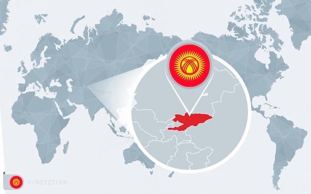 Карта мира в центре тихого океана с увеличенным кыргызстаном. флаг и карта кыргызстана.