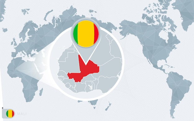Pacific centered world map with magnified mali. flag and map of mali.
