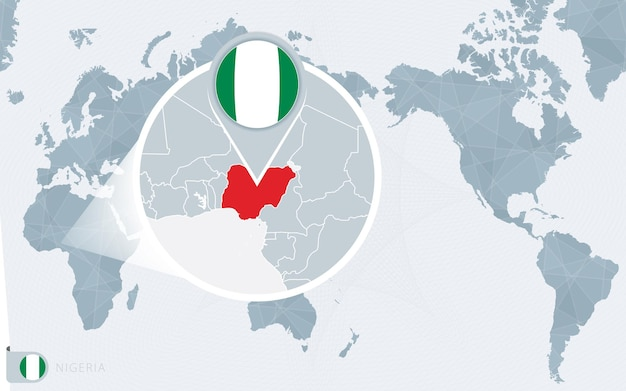 Pacific centered world map with magnified nigeria. flag and map of nigeria.